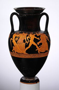 Terracotta Nolan neck-amphora (jar)  Attributed to the Oionokles Painter   Period: Classical Date: ca. 480–470 B.C. Culture: Greek, Attic