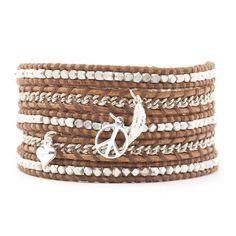 Multi Charm Wrap Bracelet on Natural Brown Leather - Chan Luu