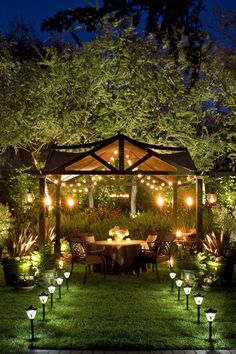 Awesome Backyard Lighting Ideas for Your Home 2020 Elegant Well-Lit Backyard Dinner Party Pergola Backyard Trees, Backyard Pergola, Backyard Landscaping, Landscaping Ideas, Pergola Kits, Pergola Designs, Cheap Pergola, Outdoor Pergola, Desert Backyard