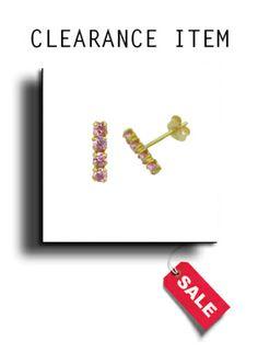 9ct Gold & 4 Stone Pink Cubic Zirconia Stud Earrings - AP7034