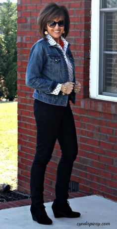 Short denim jacket, polka dot blouse
