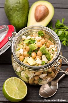 Photo about Chickpea salad with avocado and feta in a glass jar. Image of salad, vegetable, organicfood - 71314832 Avocado Salad, Cucumber, Chickpea Salad, Vegetable Salad, Glass Jars, Feta, Potato Salad, Salads, Lunch Box