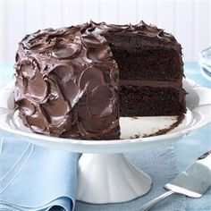 Come-Home-to-Mama Chocolate Cake Recipe- Recipes You'll spend less than a half hour whipping up this cure-all cake that starts with a mix. Sour cream and chocolate pudding make it rich and moist, and chocolate, chocolate and more chocolate make it decadent comfort food at its finest. —Taste of Home Test Kitchen