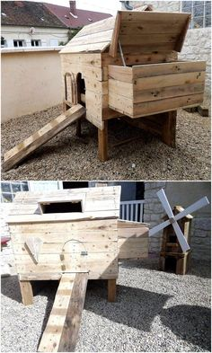 Let us start with the item to fulfill the need of the chickens in the home, here is a reclaimed wood pallet chicken coop which is created with a unique idea. It contains a slide which makes entering and getting out easy for the chickens. It also contains a small rectangular hollow space, so the air can pass easily.
