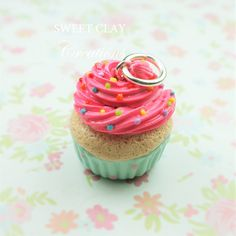 Hot Pink Teal Cupcake Miniature Food Jewelry Handmade by Sweet Clay Creations