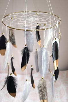 Woodland Nursery Baby Mobile Dream Catcher Native American Neutral Nursery Decor, Black and Gold Home Decor Baby Boy Nursery Decor, Woodland Nursery Decor, Woodland Baby, Baby Boy Nurseries, Themed Nursery, Nursery Ideas, Room Ideas, Mobiles, Dream Catcher Mobile