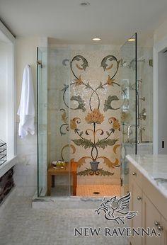 Tamsin Stone Mosaic bath by Sara Baldwin Mosaic Wall Art, Mosaic Tiles, Tiling, Ravenna Mosaics, New Ravenna, Cottage Bath, Shower Remodel, Stone Mosaic, Bathroom Interior Design
