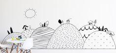 Hand Drawn Hills- Die Cut Decal - WALL DECAL #animal-wall-sticker #child-wall-art #forest-wall-art