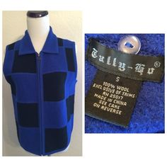 Tally - ho blue/black block vest small Cute zipper front black blue block vest...sleeveless vest..vest is size small..100% wool...good condition no tears or stains smoke pet free home...100% wool... Tally-ho Other