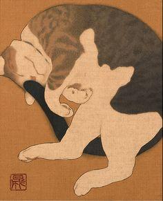 猫 (neko) - chat, style japonais - Illustration - mes chats Art And Illustration, Illustrations, Botanical Illustration, Asian Cat, Art Occidental, Animal Gato, Japanese Cat, Japanese Style, Art Asiatique