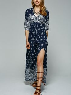 Bohemian Tribal Print High Slit Maxi Dress
