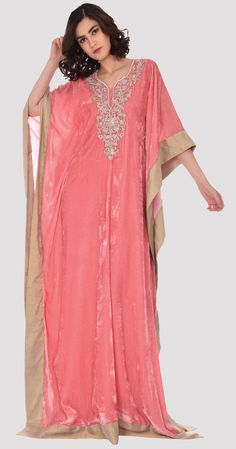 Pink Pure Silk Velvet Floral Tilla Embroidered Kaftan Gown