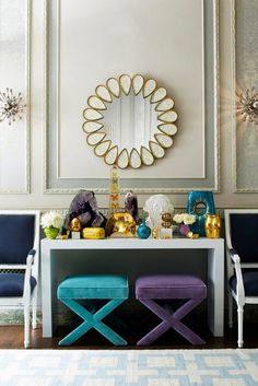 X-tra Chic.Add décorateur flair to your home with our fabulously versatile X-Bench. A veteran multitasker, the X-Bench pulls triple duty as extra se Velvet Furniture, Luxury Furniture, Modern Furniture, Jonathan Adler, Living Room New York, Living Rooms, X Bench, Benches, Interior And Exterior