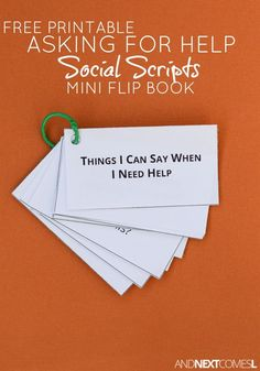 Free printable social scripts about asking for help for kids with autism or hyperlexia from And Next Comes L