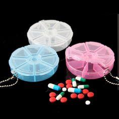 7 Day Round Pill Medicine Organizer Dispenser Travel Holder Tablet Box Container