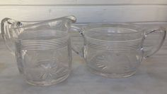 vintage etched glass sugar and creamer, retro cream and sugar 1950s by MotherMuse on Etsy
