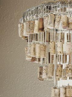 Bottle cork chandelier. Cute and easy DIY