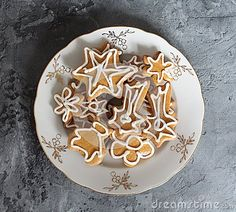 Some delicious gingerbread on marble background