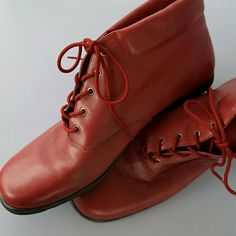 Auditions Red Leather Ankle Boots No longer sold, red ankle boots from Audtions. Worn but in great shape. Auditions Shoes Ankle Boots & Booties