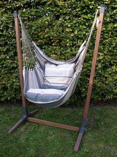 Wooden Hammock Stand, Hammock Chair Stand, Diy Hammock, Diy Furniture Projects, Garden Furniture, Outside Furniture, Outdoor Furniture, Backyard Projects, Diy Patio
