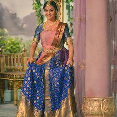 Image may contain: 1 person, standing Half Saree Lehenga, Kids Lehenga, Sarees, Half Saree Designs, Saree Blouse Designs, Desi Girl Image, Saree Photoshoot, Indian Designer Outfits, Beautiful Indian Actress
