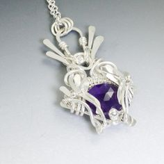 """Violet Flame"" Amethyst and Fine Silver Wire Wrapped necklace by Sabrinah Renee, boutique jeweler"