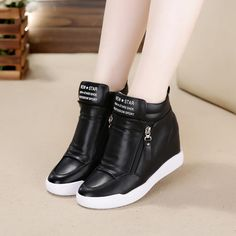 Fashion English letters canvas casual shoes within 8 cm higher  PXL-16262