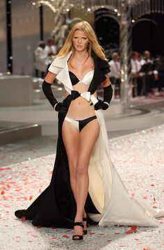 Lara Stone, in Black Tie Holiday collection of Victoria's Secret 2008