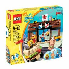 """LEGO SpongeBob SquarePants Krusty Krab Adventures by LEGO. $46.99. SpongeBob, Patrick and Mr. Krabs minifigures included. Measures 6.5"""" long and 4"""" tall. Krabby Patty vehicle also included. The Krusty Krab restaurant features details like Mr. Krabs safe, money, working doors and more. 209 pieces. From the Manufacturer                Dive down to Bikini Bottom for a swell time. Patrick's got the Patty Wagon all revved up and SpongeBob is checking out the new gadgets inside the Kr..."""