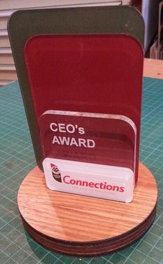 Award in acrylic and blackwood timber. Colour print and laser engraved. MyChoice@Firebridge
