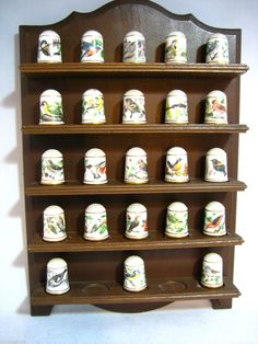 Franklin Mint Thimble Collection Garden Birds Plus Wood Shelf Wall Mount | eBay