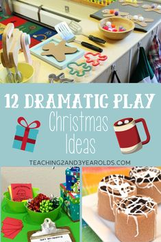 This collection of Christmas dramatic play activities is perfect for the holidays! Easy to set up in your home or classroom. Fun for the imagination! #dramaticplay #toddler #winter #pretend #christmas #preschool #holidays #age2 #age3 #teaching2and3yearolds Christmas Activities For Toddlers, Preschool Christmas, Noel Christmas, Holiday Activities, Winter Christmas, Class Activities, Summer Activities, Family Activities, Christmas Lights