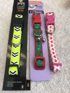 Dog Collar Size S Lot Of 3 Yellow Green Red Hearts #Unbranded