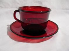 Arcoroc CLASSIQUE RUBY Red Glass Cup & Saucer by libertyhallgirl