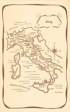 vintage map of Italy - One of my favorite places that I've traveled to!