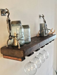 Reclaimed Wood Turnbuckle Shelf with Wine Glass Rack by AlexsWoodWorks on Etsy