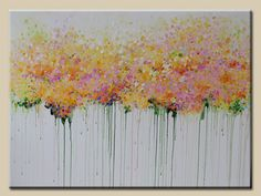 abstract painting, acrylic painting flower painting-contemporary-abstract flower painting-pink