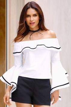 Trending Fashion | Women's White and Black Poplin Piped Sleeve Top by Boston Proper.