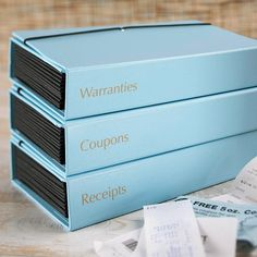Reorder & Recycle        Stop searching high and low for important papers, coupons, and receipts. Instead, sort papers by type and organize each subject in an accordion file box. Designate an hour each month to sort through everything, and toss expired coupons and archive last month's bills and receipts in a separate file.