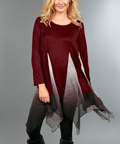 Another great find on #zulily! Red & Gray Ombré-Panel Handkerchief Tunic - Plus #zulilyfinds