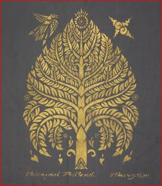 Thai traditional stencil art of bodhi tree by by AmornGallery, ฿1500.00