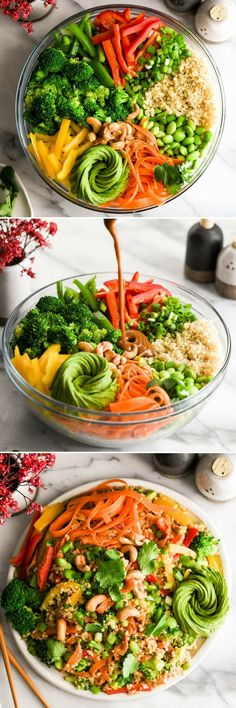 Asian Quinoa Salad with Peanut Dressing recipe is the perfect side dish or meatless main dish! It's loaded with veggies, high in protein and bursting with flavor! #quinoa #glutenfree #dairyfree #vegan #salad #sidedish #peanutsauce via @joyfoodsunshine