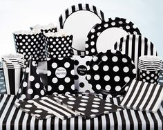 Black Dots or Stripes Party Supplies Set The Scene For Classy FunDazzle party guests with festive disposable tableware items featuring patterns with black and white stripes or crisp white polka dots on black. Add visual style to birthdays, showers, receptions, or family gatherings with fashionable black dots party supplies or black stripes decorations on plates, napkins, cups and a lively tablecover. Energize the celebration with additional black dots decorations that include balloons, ...