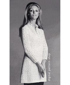 1970s Vintage Greek Key Tunic or Mini Dress Crochet Pattern: From the early 1970s, a Greek key motif done in filet crochet to make brief