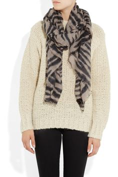 Mulberry | Tiger-print wool and cashmere-blend scarf | NET-A-PORTER.COM