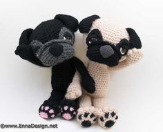 Sleepy-eyed pug amigurumi crochet pattern by Emi Kanesada (Enna Design)--pattern at Amigurumipatterns.net
