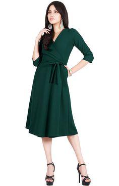 10d6bddd24 Viris Zamara Womens V-Neck Half Sleeve Flowy Wedding Semi Formal Midi Dress  at Amazon