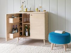 We reckon our mid-century oak drinks cabinet looks pretty cool on the outside. And we've kitted it out for cocktail time inside. Bottoms up! Primitive Furniture, Distressed Furniture, Modern Buffet, Contemporary Cabinets, Comfy Sofa, Drinks Cabinet, Parking Design, Curtains With Blinds, Living Room Kitchen