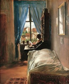a man with a past The Artist's Bedroom in Ritterstrasse, 1847, Adolph Menzel. German, (1815–1905)