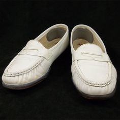 4e3326ca8294 SAS Shoes Womens White Leather Slip On Loafers Size 8 W Wide  SAS  Loafers